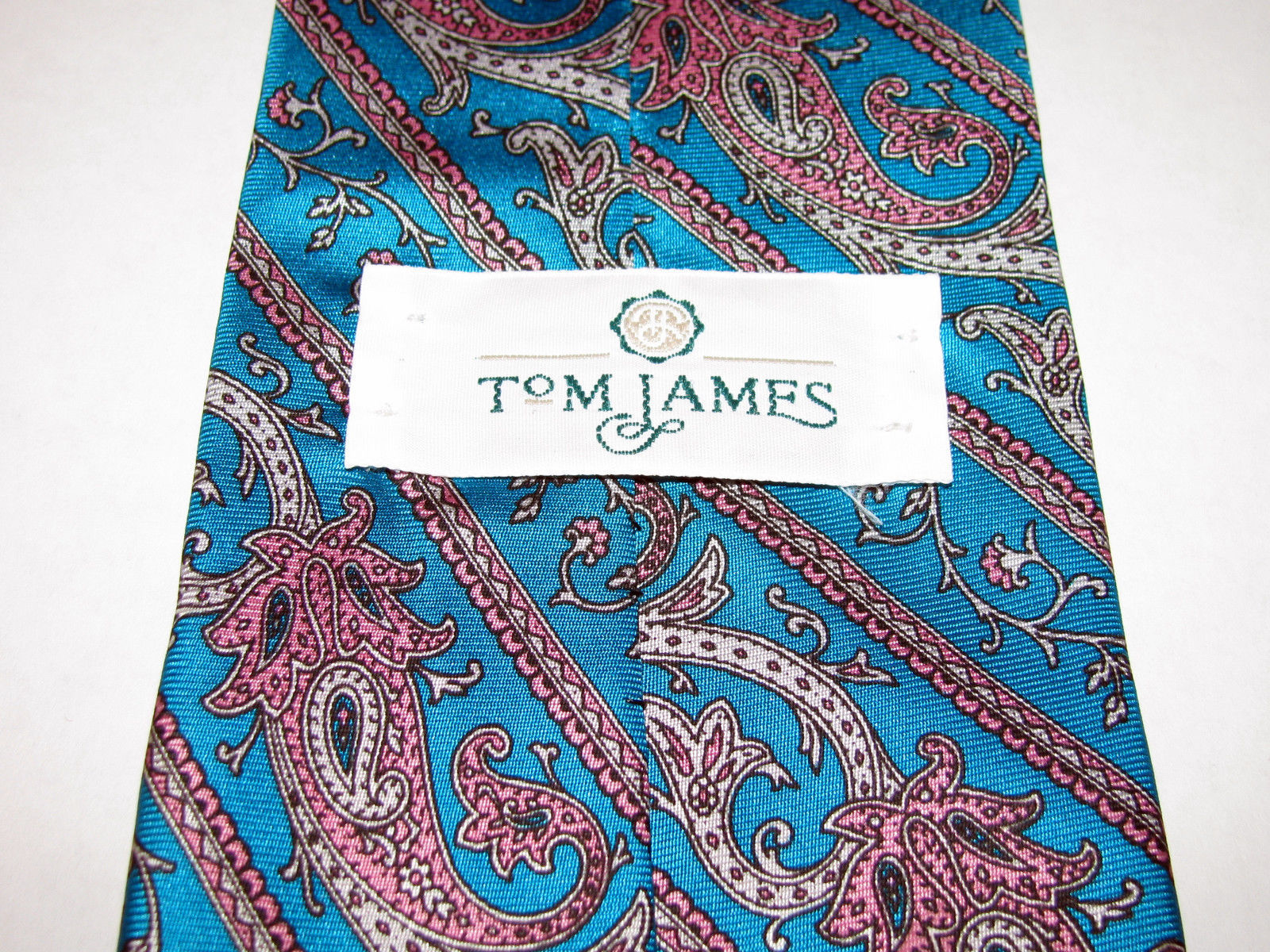 Vintage Tom James Turquoise Blue Green Paisley Silk Necktie Made in USA image 6