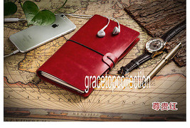 Vintage Red Leather Cover Refillable Sketchbook Travelers Journal Diary ... - $20.79