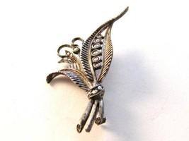 Vintage Marcasite Sterling Silver Leaf Brooch - $54.44