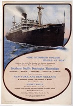SOUTHERN PACIFIC STEAMSHIPS NEW YORK SUNSET ROU... - $64.99