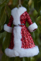 Pottery Barn Mrs. Claus dress Christmas ornament  glass glittered - $122.49