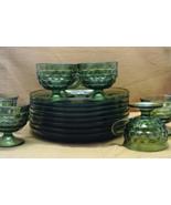 Vintage 16 Piece Indiana Glass Green Whitehall Cubist Pattern Snack Set - $50.00