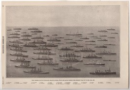 WWI SUNKEN DESTROYED CRUISERS & WAR SHIPS ANTIQUE NAVAL ILLUSTRATION PRI... - $74.98