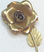 Vintage Gold Tone Rose Pin Brooch - $13.99
