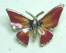 Vintage Red Enamel Gold Tone Butterfly Pin Brooch - $9.99