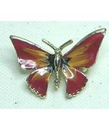 Vintage Red Enamel Gold Tone Butterfly Pin Brooch - $9.99