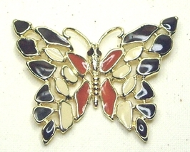 Vintage Black, Cream & Rust  Enameled Gold Tone Butterfly Pendant - $17.99
