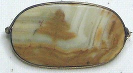 Vintage Picture Jasper Gemstone Wire Wrapped Pin Brooch - $14.99