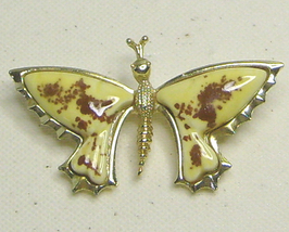 Vintage Yellow & Brown Gold Tone Butterfly Pin Signed Brooch - $27.99