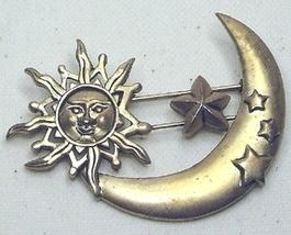 Vintage Sun, Moon & Stars Gold Tone Brooch Pin - $10.99