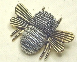 Vintage Gold & Silver Tone Large Bee Pin Brooch - $15.99