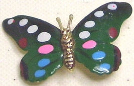 Vintage Enamel Spotted Gold Tone Butterfly Pin Brooch - $3.99