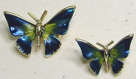 Vintage Blue Enamel Gold Tone Butterfly Scatter  Pin Brooch  Set - $20.99