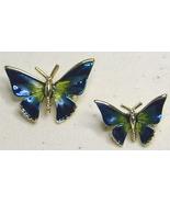 Vintage Blue Enamel Gold Tone Butterfly Scatter  Pin Brooch  Set - $20.99