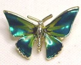 Vintage Green Enamel Gold Tone Butterfly Pin Brooch - $13.99