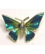 Vintage Green Enamel Gold Tone Butterfly Pin Brooch - $13.99
