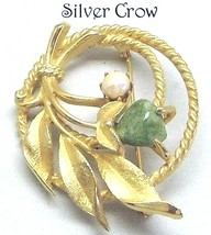 Vintage Gold Tone Sarah Coventry Floral Pearl Gemstone  Pin Brooch - $13.99