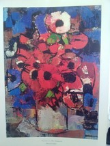 20X24 Anemones on a Blue Background by Bernard ... - $25.00