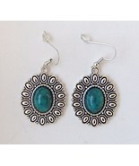 Natural Blue Turquoise Gemstone Tibetan Silver Earrings Pierced Dangle N... - $7.49