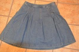 Ann Taylor Loft Blue J EAN Pleat Full Skirt A-LINE 10 L Eu - $16.65