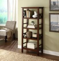 BookCase 5 Shelf Open Bookshelf Storage Antique Tobacco Furniture Home D... - $138.98