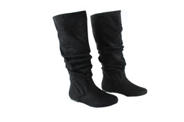 Soda Women Booty Knee-High Suede BOOTS Flat Round Toe Stitching Back Cut... - $24.99