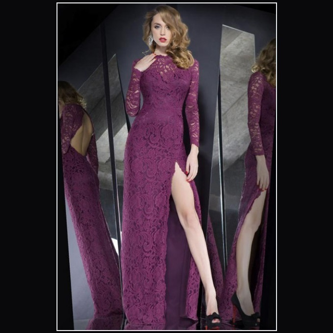 Orchid Lace Overlay High Leg Slit Backless Long Sleeve Sheath Evening Prom Gown