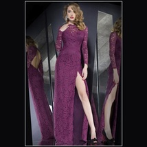 Orchid Lace Overlay High Leg Slit Backless Long Sleeve Sheath Evening Prom Gown - $103.95