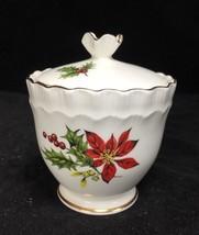 Royal Adderley Sugar Bowl POINSETTA  w/ Lid - Fine Bone China - Gold Trim - $18.80