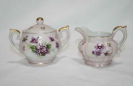 Lefton China HP Vintage Pink Purple Violet Mini Creamer & Sugar  #2329 - $35.00