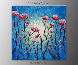 Palette knife original painting, textured pink ... - $55.00