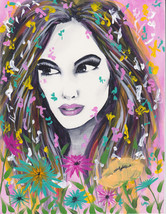 """Girl with flowers original acrylic painting """"Co... - $40.00"""