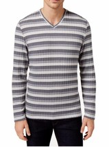 New Alfani V Neck Striped Stretch Grey Lightweight Ribbed Pullover Sweater L - $15.83