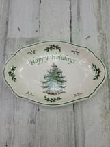 Spode Happy Holidays Oval Earthenware Tray Christmas Tree Presents 7.5 x... - $14.54