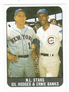Primary image for Ernie Banks and Gil Hodges baseball card (Mets Cubs) 1986 Sports Designs J.D....