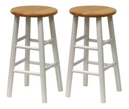 Wooden Bar Stools White Counter Chairs Set Of 2 Natural Wood Seats 24 In... - $71.89