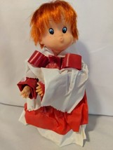 Paper Mache Christmas Caroler Choir Boy Plastic Head Vintage 10 Inch - $12.19