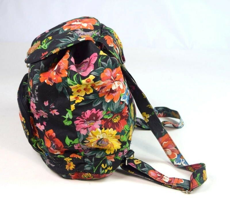 Primary image for Vtg 90s Floral Print Retro Drawstring Backpack Shoulder Bag Purse Satchel Womens