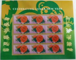 Celebrating Lunar New Year of the Monkey - USPS SHEET of 12 FOREVER STAMPS - $12.95