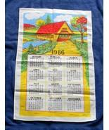 VINTAGE 1986 COTTON CALENDAR KITCHEN TOWEL COVERED BRIDGE - $14.80