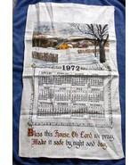 VINTAGE 1972 LINEN CALENDAR KITCHEN TOWEL SNOWY FARM BLESS THIS HOUSE - $14.80