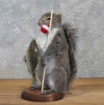 Fisherman Fishing Squirrel Taxidermy Animal Statue on Base Home or Office Gift - $199.99