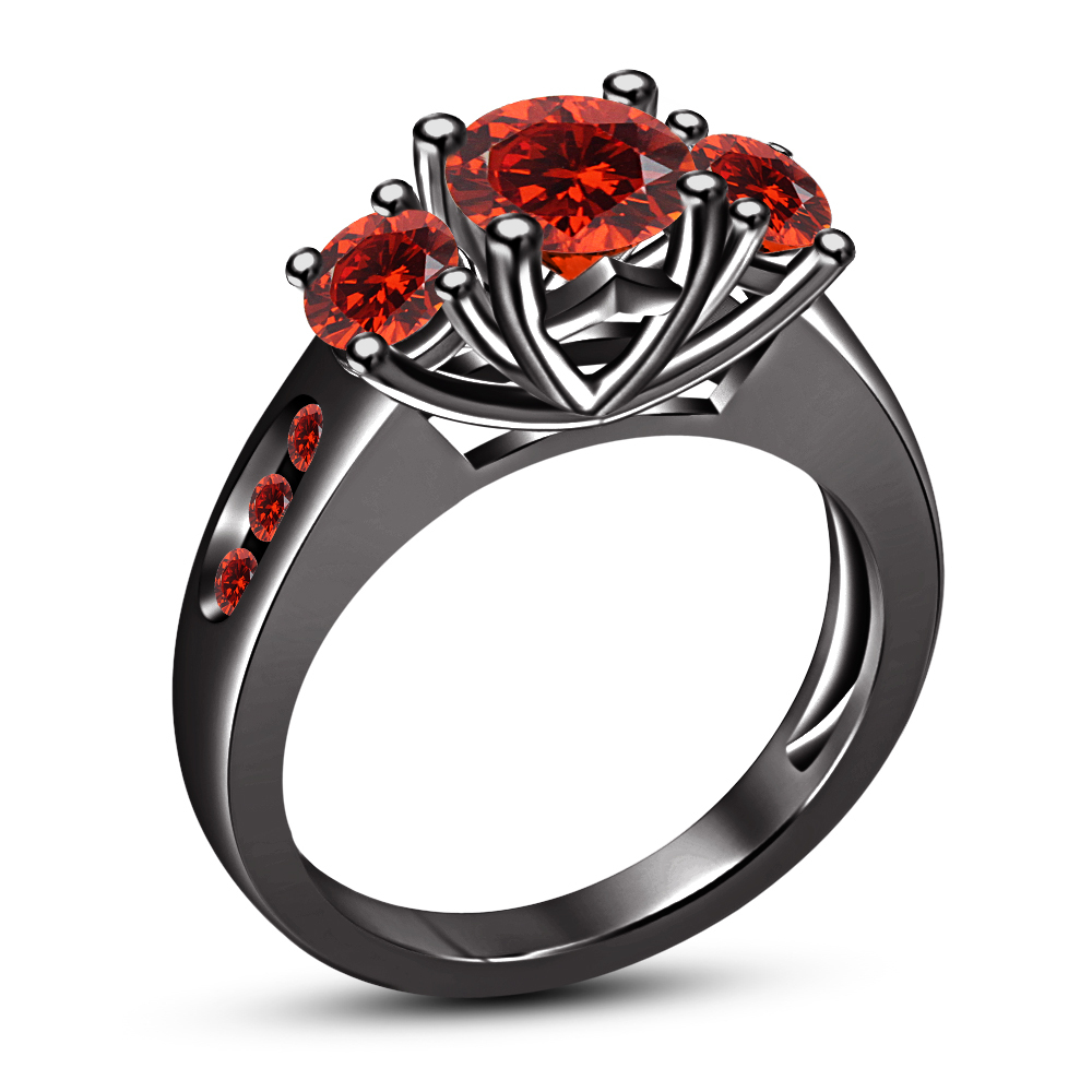 Primary image for 18k Black Gold Over Silver Sterling RD Red Garnet Engagement Three Stone Ring