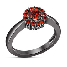 Round Red Garnet Black Gold Over 925 Sterling Solitaire With Accents Ring - ₹6,114.14 INR
