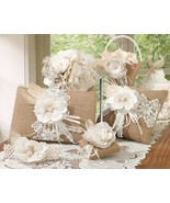 Burlap Lace Wedding Accessories Set Guest Book, Pen, Basket, Garter, Rin... - $91.89
