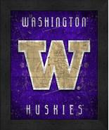"Washington Huskies ""Retro College Logo Map"" 13x16 Framed Print  - $39.95"