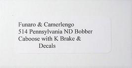 Funaro & Camerlengo HO PRR ND Bobber Caboose w/ K Brake kit 514 image 3
