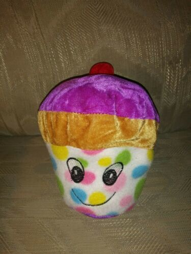 "Primary image for Goffa Cupcake Plush 7"" Cherry On Top Multicolor Spots Ages 3+ Stuffed Animal Toy"