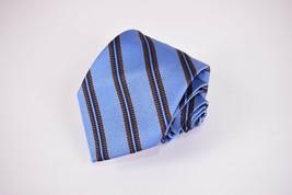 Luciano Barbera Silk Neck Tie In Light Blue, Dark Brown & Navy Stripes - $25.20
