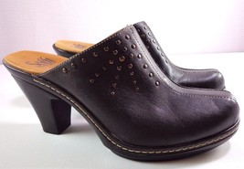 Sofft Womens Brown Leather Mules Size 9 M Studded Detail Slip On Clogs - $49.95